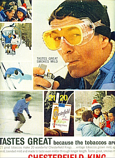 1963 CHESTERFIELD CIGARETTES AD SNOW SKIING (Image1)