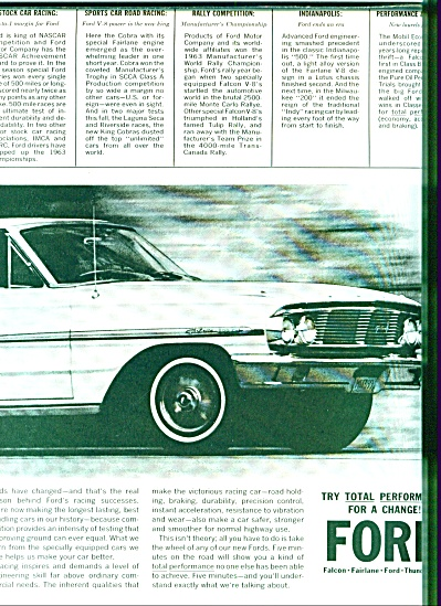1963 Ford 2PG COBRA Fairlane RACING CAR AD (Image1)