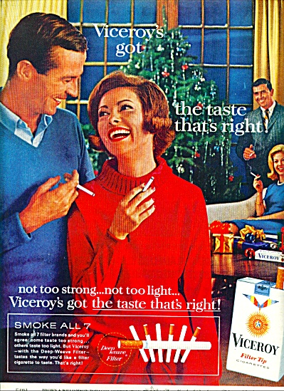 1963 VICEROY Cigarettes AD Taste Right Xmas (Image1)