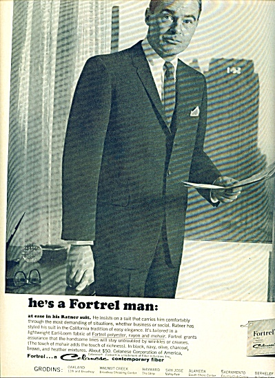 1963 Fortrel Man - Celanese Man In Ratner Suit Print Ad