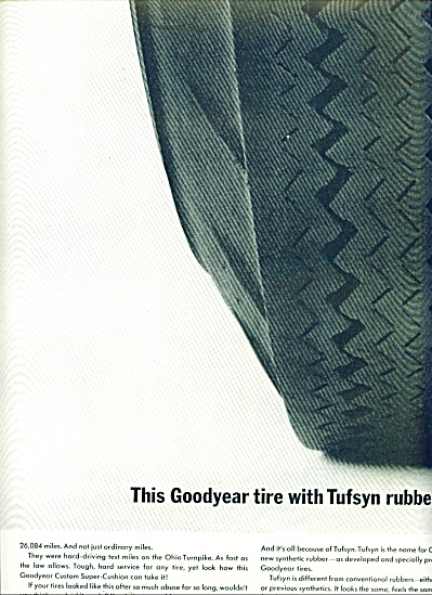 Goodyear Tires With Tufsyn Rubber Ad 1963