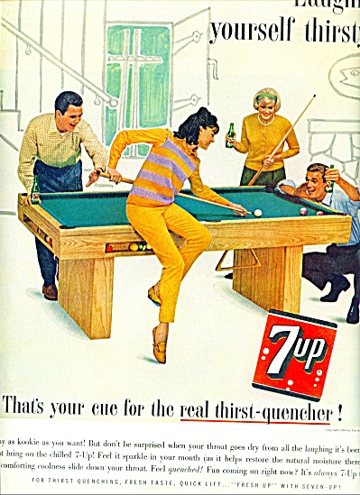 1963 Seven Up 7UP AD PLAYING POOL Billiards (Image1)