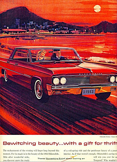1963 Oldsmobile Car Bewitching Beauty Print Ad