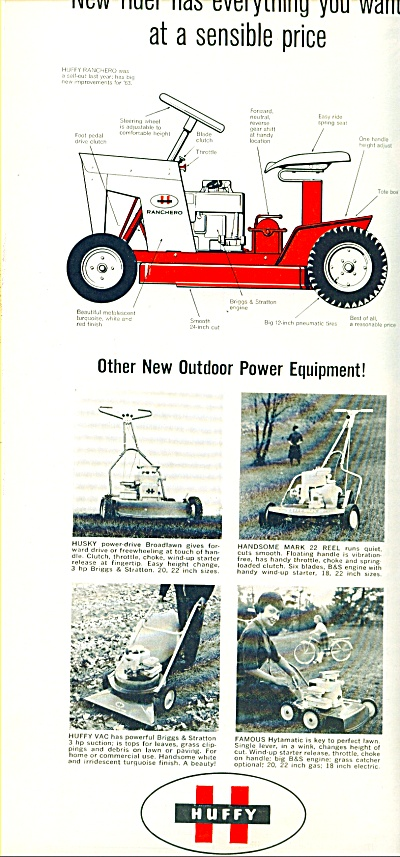 1962 Huffy Riding Law Mower Print AD 5 Models  (Image1)
