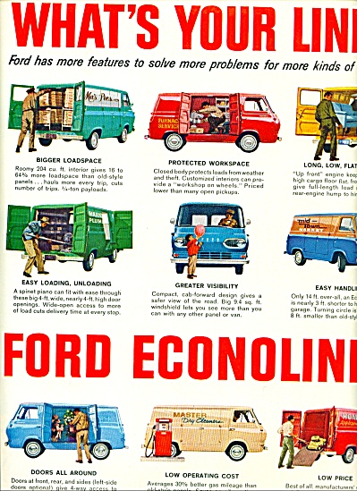1963 Ford Econoline Van Print Ad What's Your Line
