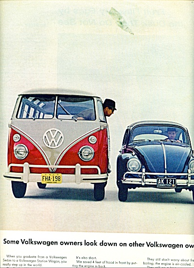 Volkswagen Automobiles Ad 1963 Wagon And Car