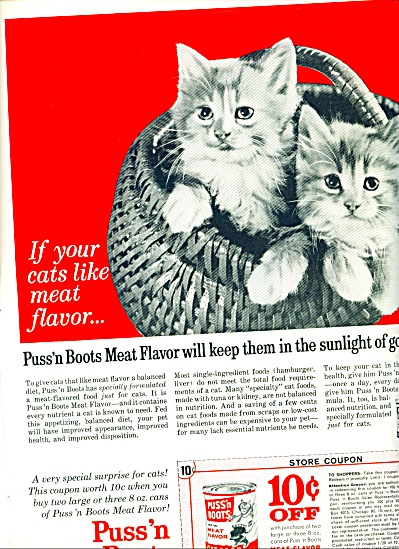 Puss 'n Boots meat flavor cat food ad 1963 (Image1)