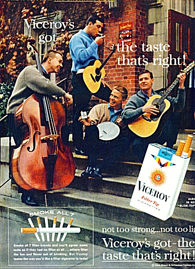 1963 VICEROY Cigarettes AD 4 Guys Playing (Image1)