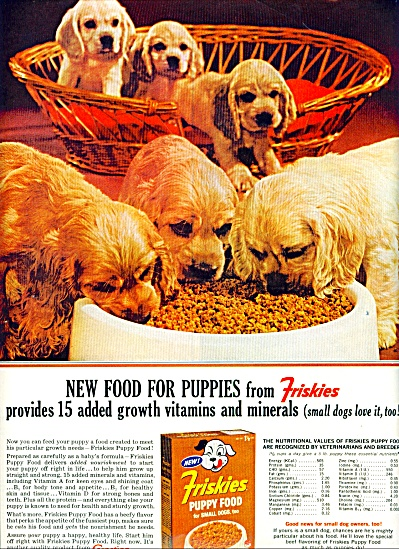 Friskies new food for puppies ad 1963 (Image1)