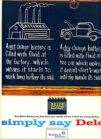 Unaited Delco Dry Charge Battery Ad 1963
