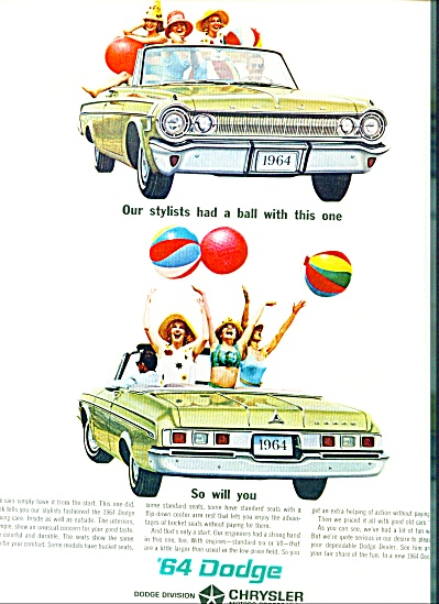 1964 DODGE Car AD GIRLS HAVE A BALL Models (Image1)