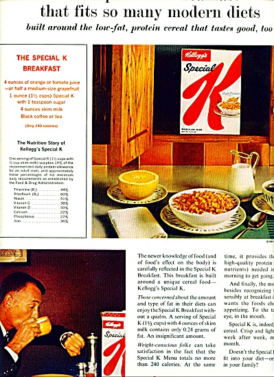 Kellogg's Special K Cereal Ad 1963