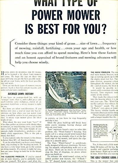Toro power mowers ad 1963 (Image1)