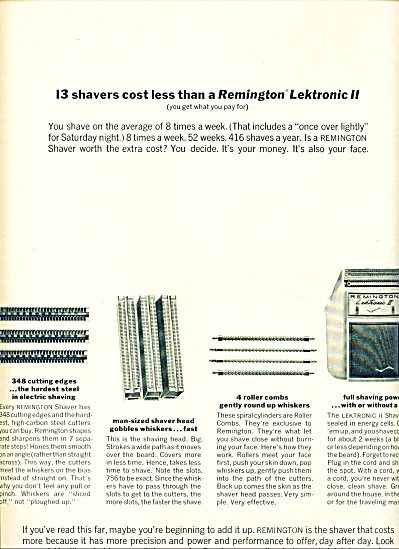 Remington Lektronic Ii Shaver Ad 1963