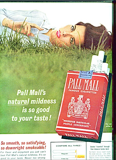 1963 Pall Mall Wilhelmina Model Cigarette Ad