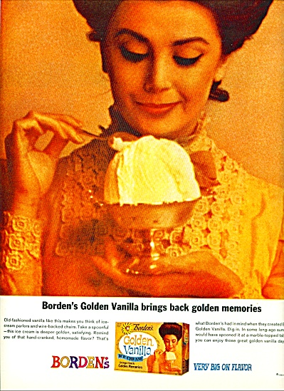 Borden's Golden Vanilla Ice Cream Ad 1963