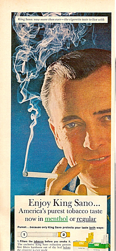 King Sano Cigarettes Ad 1963