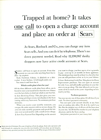Sears Roebuck charge accounts ad 1963 (Image1)
