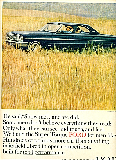 1963 Ford Galaxie 500 Car AD Man in Field (Image1)