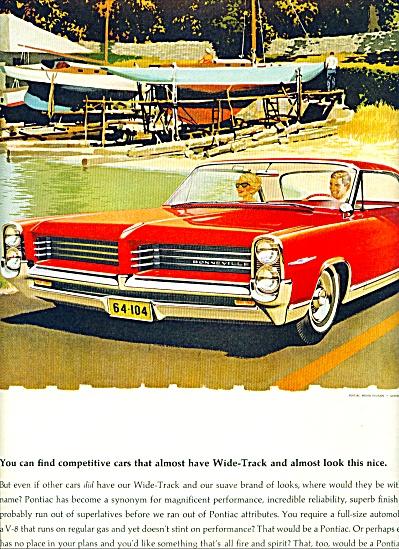 1964 Pontiac BONNEVILLE Car AD RED ART (Image1)