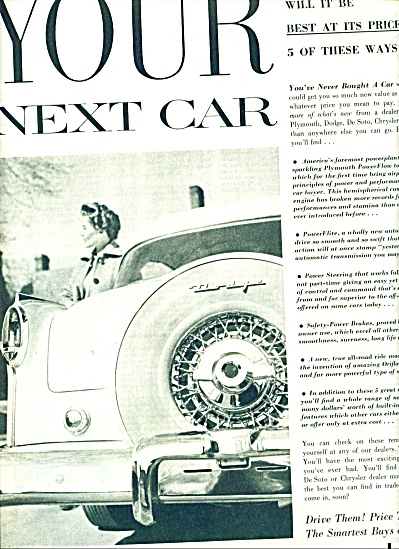Chrysler Corporation automobiles ad 1954 (Image1)