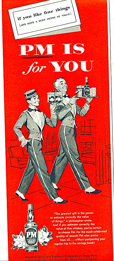 Pm Fine Whiskey Ad 1954