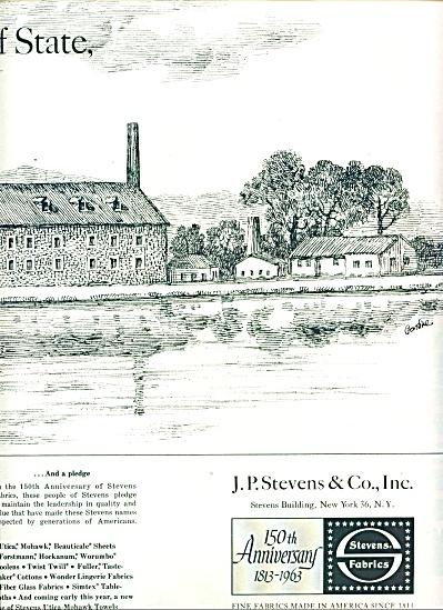 Stevens Fabrics - 150 anniversary ad 1963 (Image1)