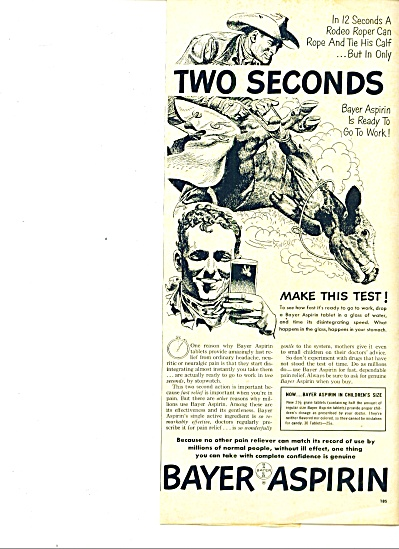 1951 BAYER Aspirin RODEO ROPER AD Tie CALF (Image1)