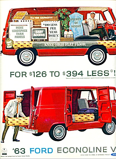 1963 Ford Econoline RED Van AD (Image1)