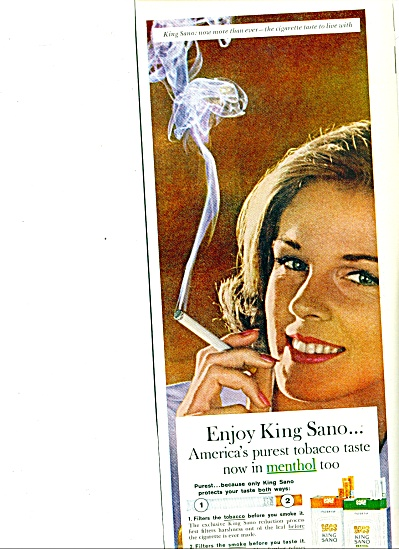 King Sano cigarettes ad 1963 PUREST TOBACCO (Image1)