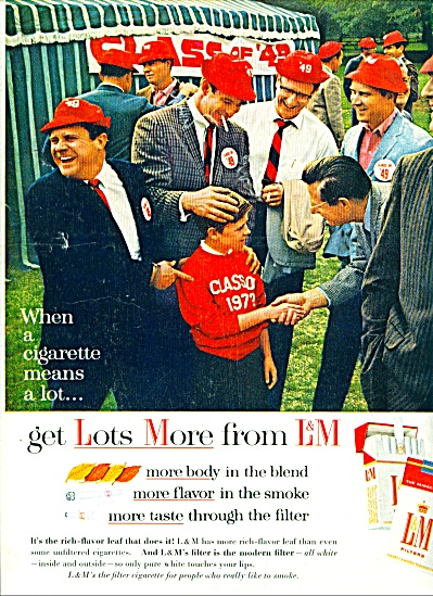 L & M Filters Cigarettes Ad 1963