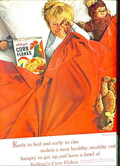 1963 Kellogg's Corn Flakes Ad Boy In Bed