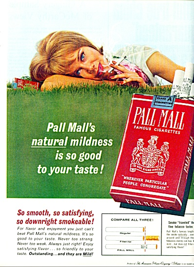 1963 Pall Mall Cigarette Ad Lady In Grass