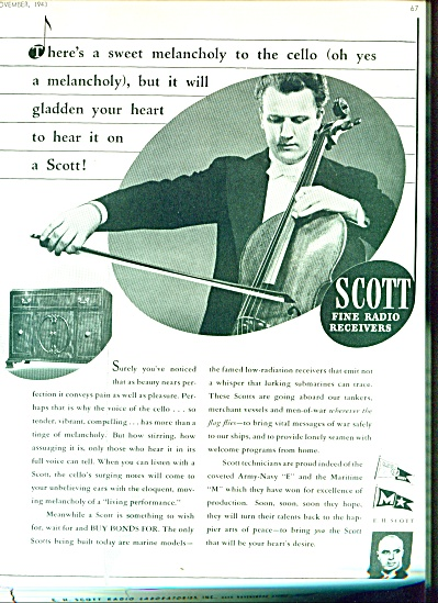 1943 Scott Fine Radio Receivers Ad Cello