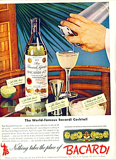 Bacardi cocktails ad 1943 (Image1)