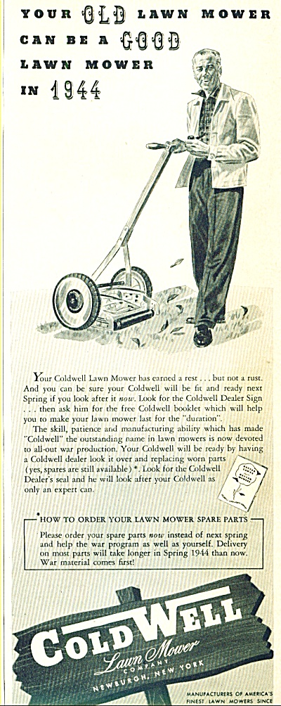 1943 ColdWell lawn Push mower ad 1943 (Image1)