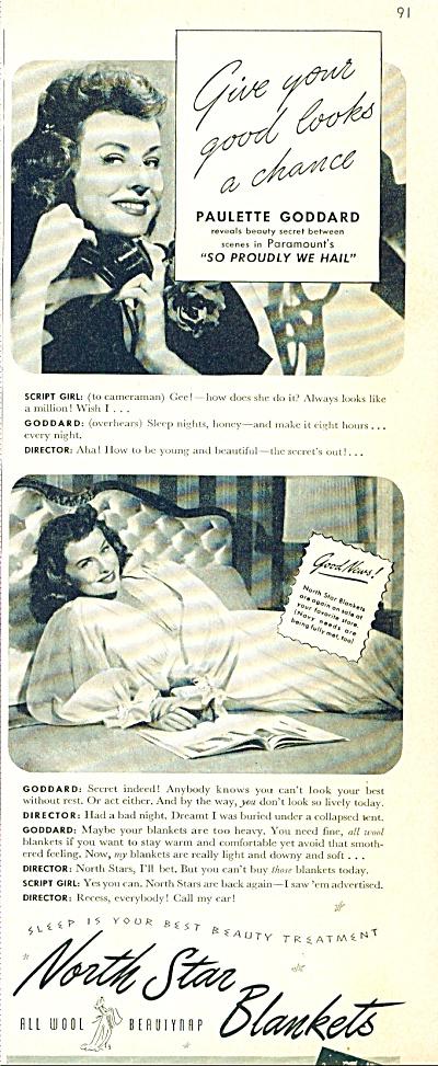1943 North Star Blanket PAULETTE GODDARD  ad (Image1)