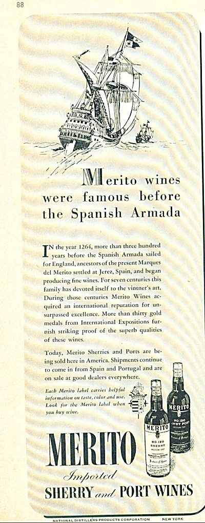 Merito Imported Sherry And Port Wines Ad