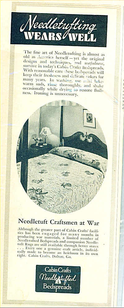 Cabin Crafts Needlestufted Bedspreads Ad 1943