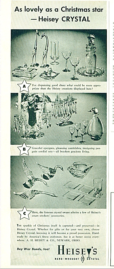 1943 Heisey Crystal Glas Ad Lamps + Models