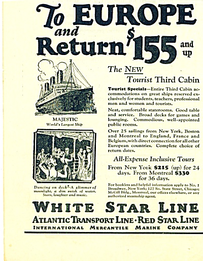 White Star -atlantic Transport Line Ad 1925