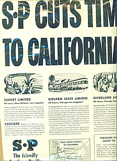 Southern Pacific cuts time to California 1946 (Image1)