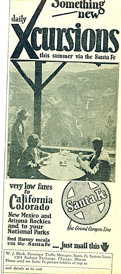 1925 Santa Fe System lines ad Vintage Pic (Image1)