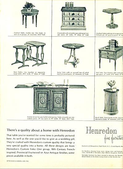 Henredon fine furniture ad 1964 (Image1)