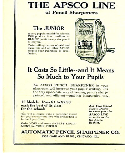 Automatic Pencil Sharpener Co. ad 1925 (Image1)