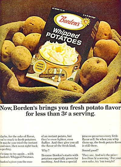 Borden's Whipped Potatoes Ad 1964