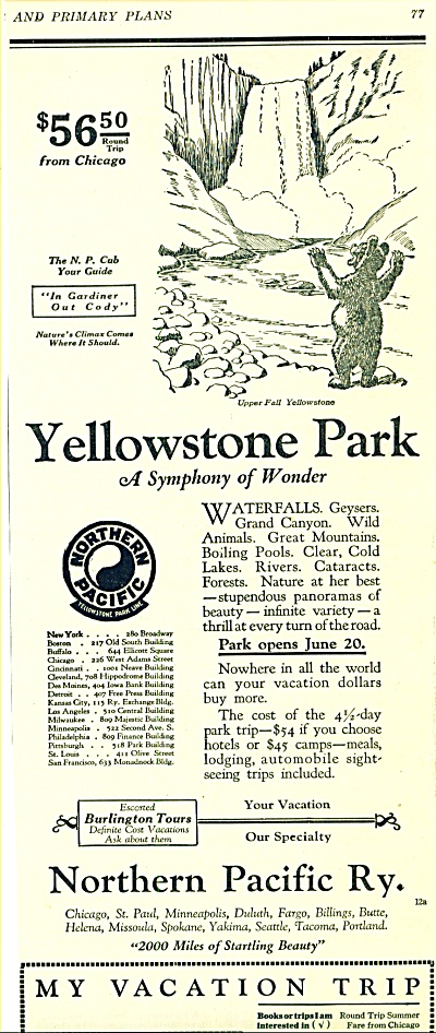 1925 Northern Pacific Railway AD Yellowstone (Image1)