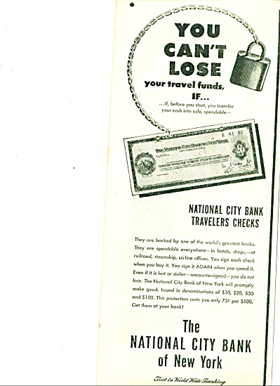 1925 National City Bank of New York AD Travel (Image1)