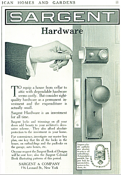 1912 SARGENT Promo DOOR KNOB - LOCKS AD (Image1)