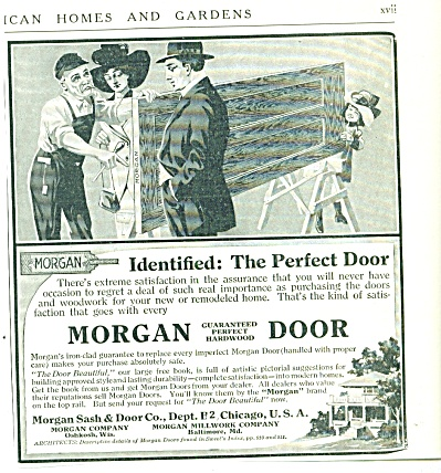 1912 Morgan HARDWOOD DOOR AD Vintage Artwork (Image1)
